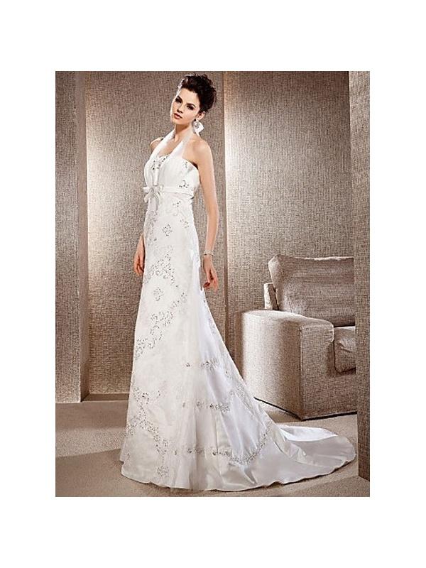 Empire waist halter chapel train tulle lace wedding dress for Empire waist tulle wedding dress