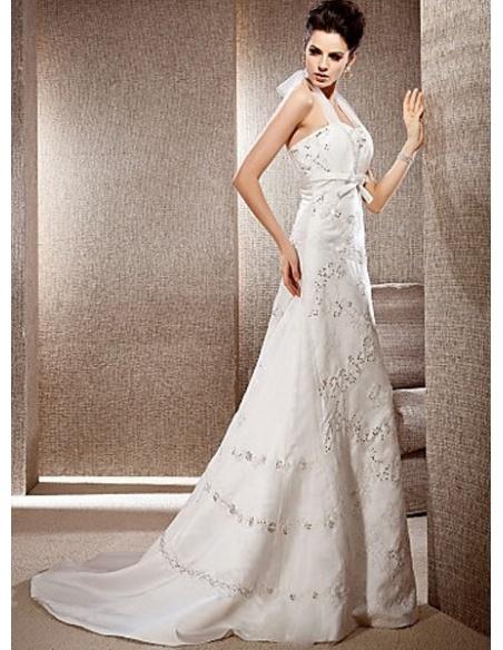 JOLIE - Empire waist Halter Chapel train Tulle Lace Wedding dress