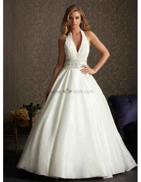 YVONNE - Halter V-neck A-line Cheap Chapel train Taffeta Wedding dress
