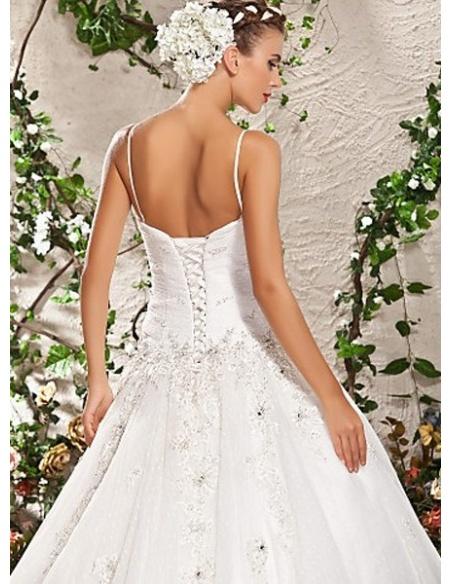 NATASHA - A-line Spaghetti Straps Floor length Tulle Wedding dress