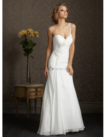 ANGELA - Sweetheart Sheath Cheap Chapel train Chiffon One shoulder Wedding dress