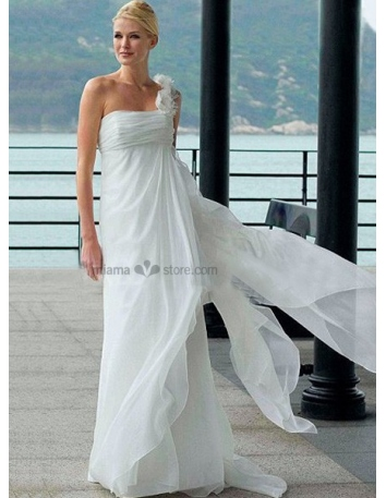 Lucy - Empire waist Sheath Cheap Court train Chiffon One shoulder Wedding