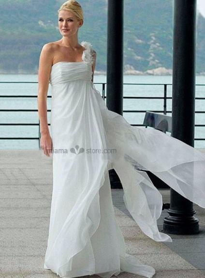 Lucy - Empire waist Sheath Cheap Court train Chiffon One shoulder Wedding dress