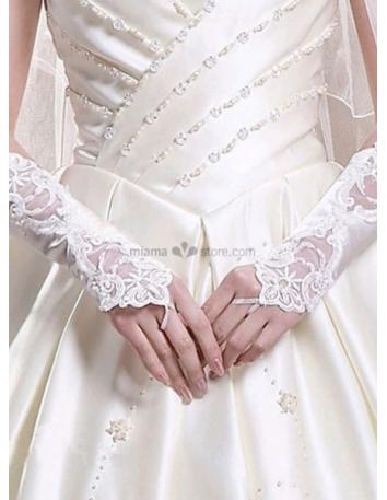 Satin Lace 28cm White Wedding gloves