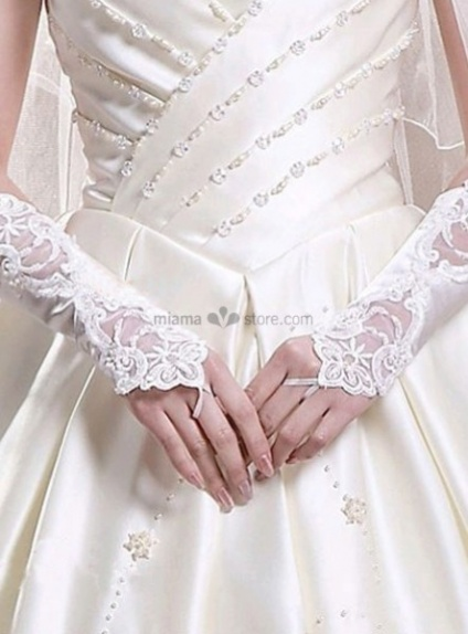 Satin Lace 28cm White Wedding gloves