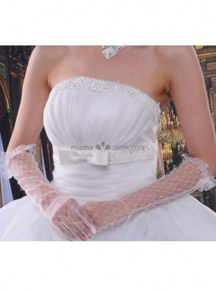 Lace flowers Elbow length White Wedding gloves
