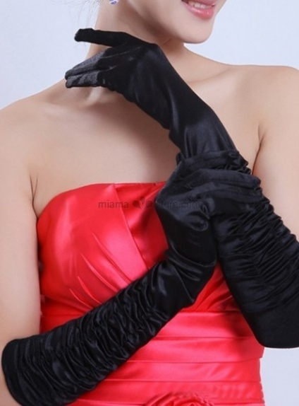 Satin Lace flowers Elbow length Black Wedding gloves