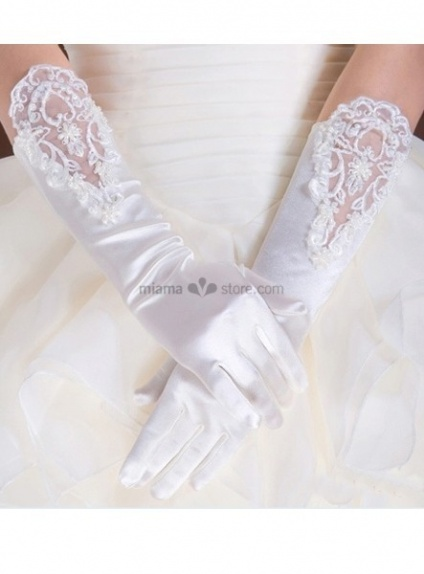Satin Lace flowers Elbow length White Wedding gloves