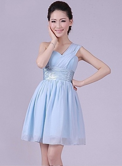 NOUR - A-line Knee length Chiffon One shoulder Chinese Cheap Wedding Party Dress