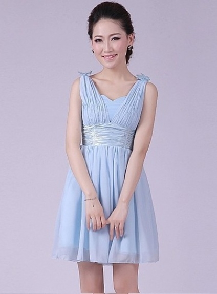 EMILIE - A-line Knee length Chiffon V-neck Chinese Cheap Wedding Party Dress