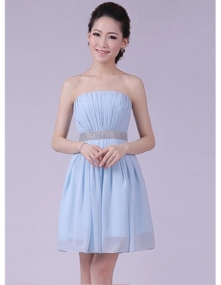 ALICE - A-line Knee length Chiffon Strapless Chinese Cheap Wedding Party Dress