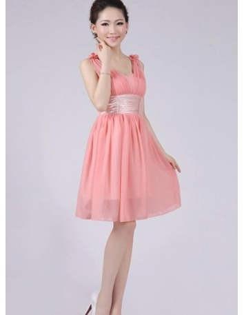 CLARA - A-line Knee length Chiffon V-neck Chinese Cheap Wedding Party Dress