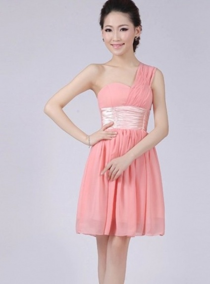 PAULINE - A-line Knee length Chiffon One shoulder Chinese Cheap Wedding Party Dress