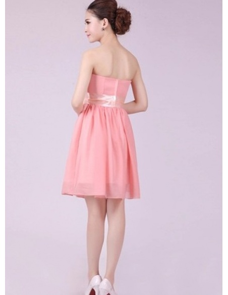 HANA - A-line Knee length Chiffon Strapless Chinese Cheap Wedding Party Dress