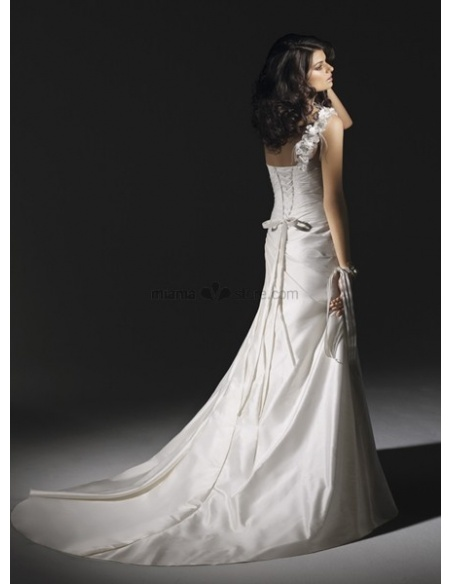 PANSY - A-line Sweetheart Cheap Chapel train Taffeta One shoulder Wedding dress