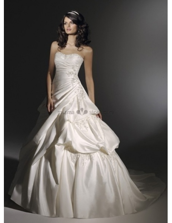 VALERIE - A-line Strapless Chapel train Taffeta Wedding dress