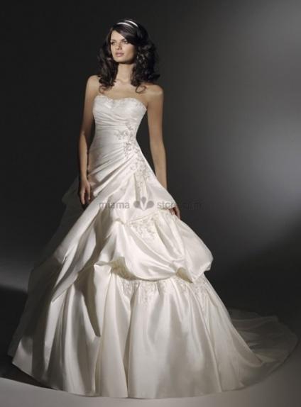 VALERIE - A-line Strapless Chapel train Taffeta Wedding dress