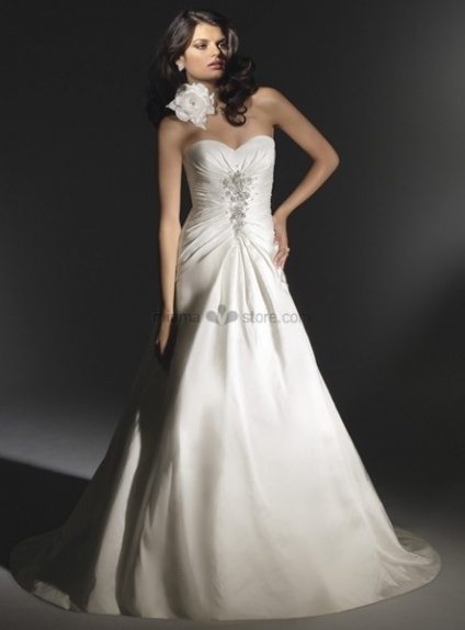 ROCHELLE - A-line Sweetheart Cheap Chapel train Satin Wedding dress