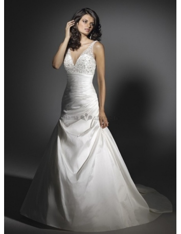 LSABELLA - A-line V-neck Cheap Chapel train Taffeta Wedding dress