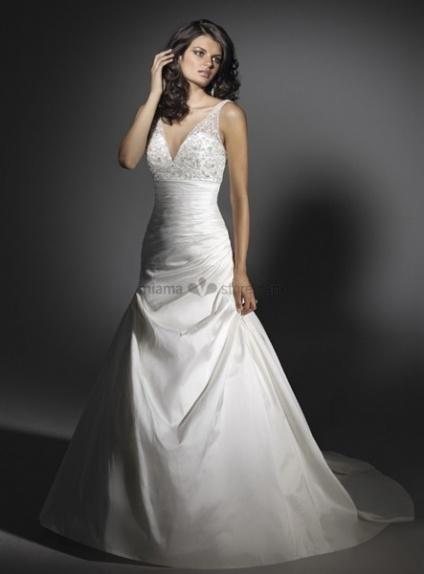 LSABELLA - A-line V-neck Cheap Chapel train Taffeta Wedding dress