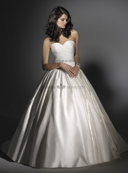 AVA - A-line Sweetheart Cheap Ball gown Chapel train Satin Wedding dress