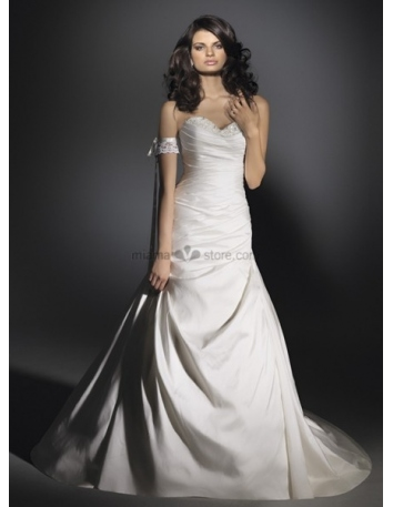 LIZ - A-line Sweetheart Cheap Chapel train Taffeta Wedding dress