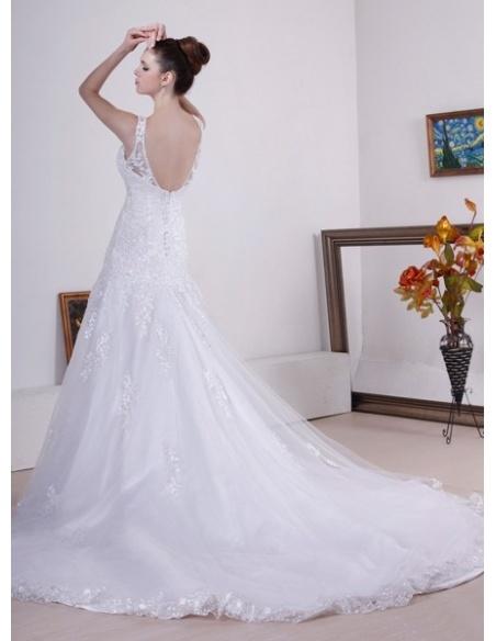 ALLISON - A-line V-neck Chapel train Tulle Wedding dress