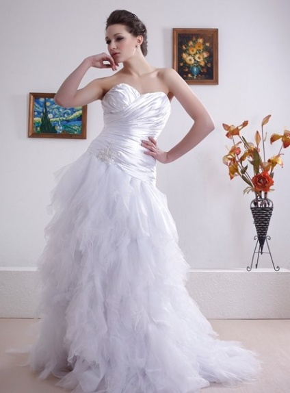 ANNA - A-line Sweetheart Chapel train Stretch satin Tulle Wedding dress