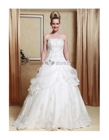 Mary - A-line Strapless Floor length Organza Wedding dress