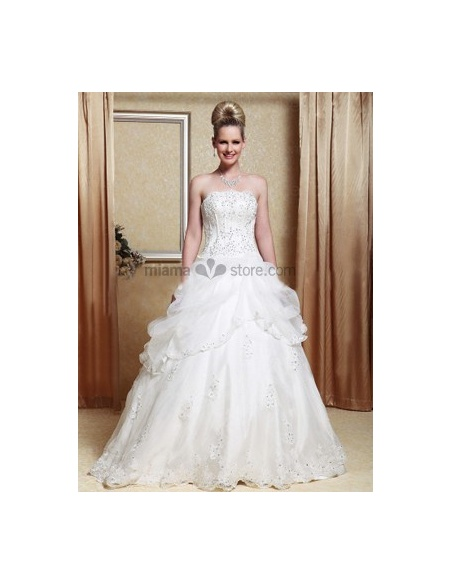 Mary - A-line Strapless Floor length Organza Wedding dress