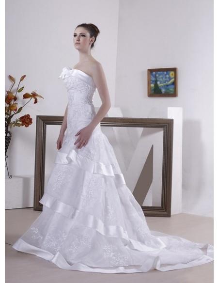 ADRIANNA - A-line Strapless Chapel train Organza Wedding dress