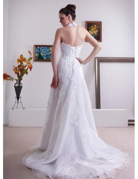 LINDA - A-line Halter Chapel train Organza Wedding dress