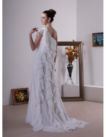 CHARLOTE - Sheath Chapel train Chiffon One shoulder Wedding dress