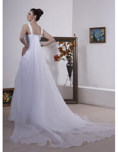 JENNIE - A-line Watteau train Organza Square neck Wedding dress