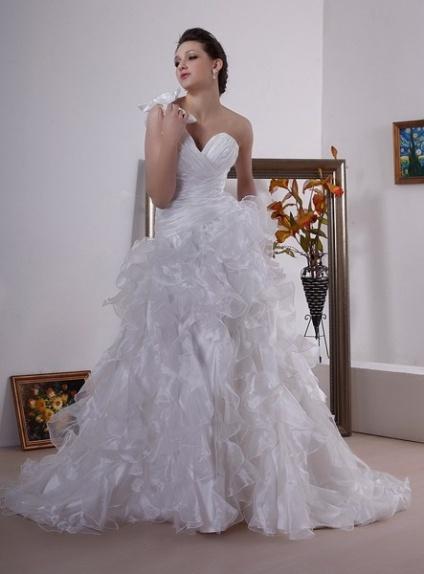 HOLLIE - A-line Sweetheart Chapel train Organza One shoulder Wedding dress