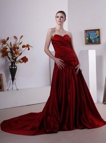CHRISTINE - A-line Sweetheart Chapel train Stretch satin Wedding dress