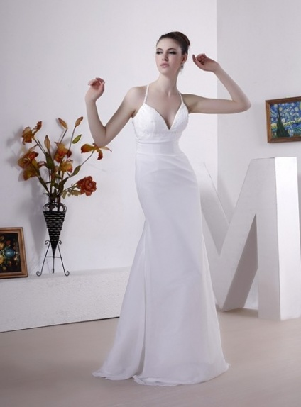 ANNABEL - A-line Spaghetti straps Court train Chiffon V-neck Wedding dress