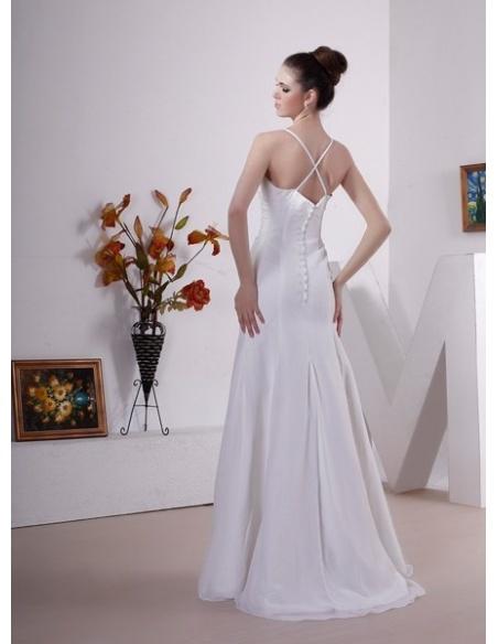 ANNABEL - A-line Spaghetti straps Court train Chiffon V-neck Wedding dress