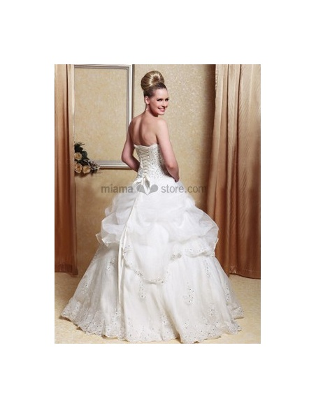 Mary - A-line Strapless Floor length Satin Wedding dress