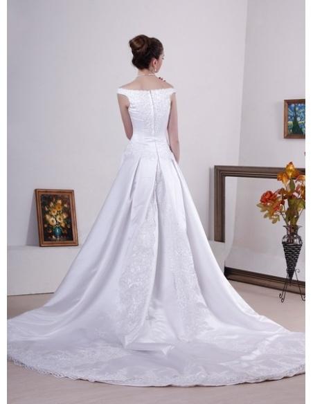 LUCY - A-line Off the shoulder Chapel train Satin Wedding dress