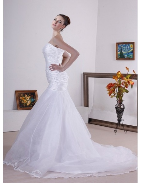STACEY - Mermaid Strapless Chapel train Stretch satin Tulle Wedding dress
