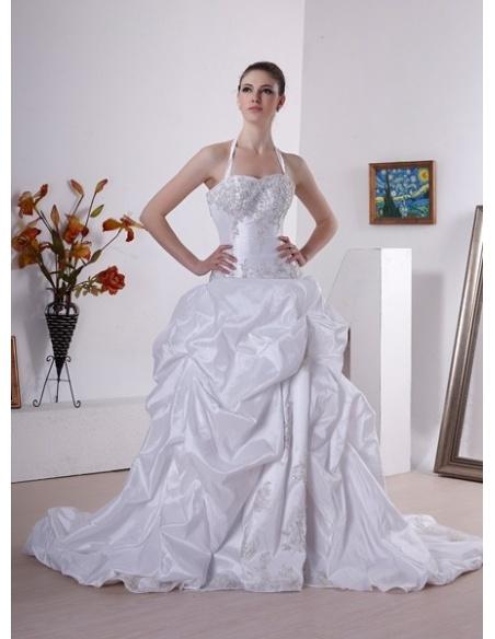 NADINES - A-line Halter Chapel train Taffeta Wedding dress