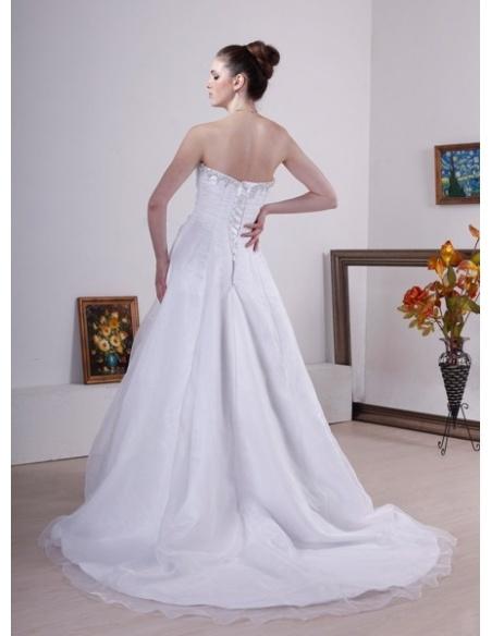 NIAMH - A-line Strapless Chapel train Organza Wedding dress