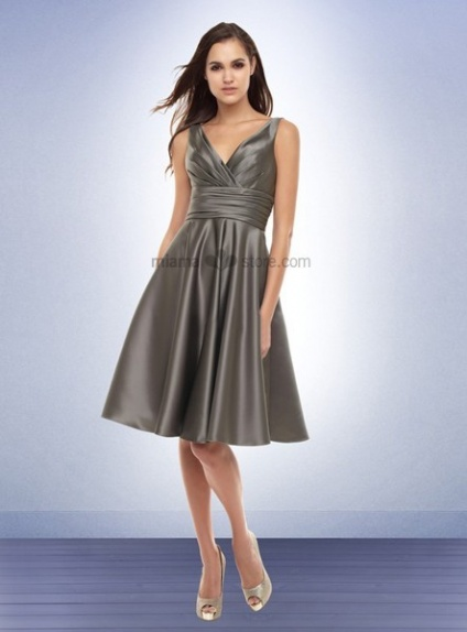 KATE - Bridesmaid Cheap Princess Knee length Satin V-neck Wedding party dress
