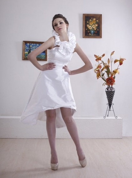 WHITHEY - A-line Halter Short Asymmetrical Taffeta Wedding dress