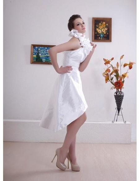 WHITHEY - A-line Halter Short Asymmetrical Taffeta Wedding dress