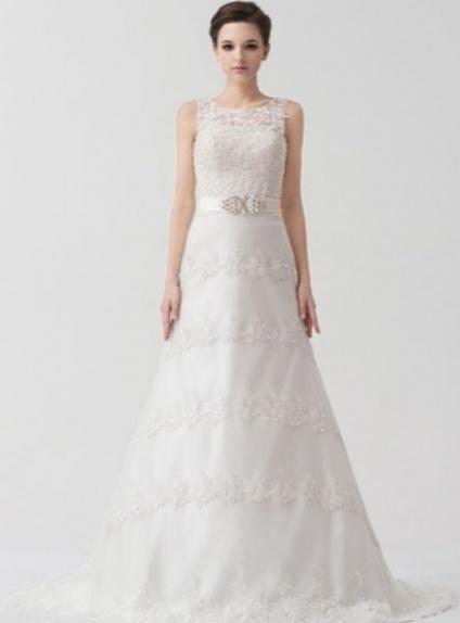 SIMONA - A-line Empire waist Chapel train Tulle Low round/Scooped neck Wedding dress