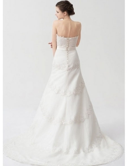 SIMONA - A-line Empire waist Chapel train Tulle Low round/Scooped neck Wedding dress
