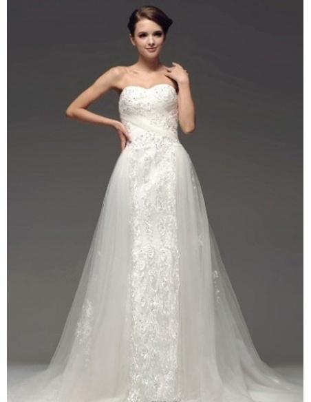JULIANA - A-line Sweetheart Chapel train Tulle Wedding dress