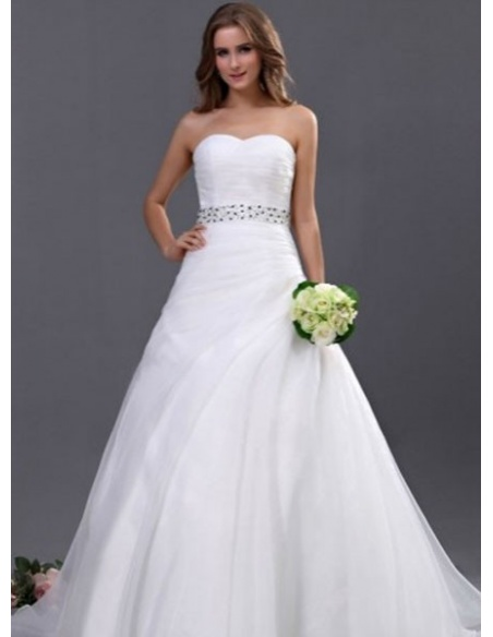 ALYS - A-line Empire waist Chapel train Organza Sweetheart Wedding dress